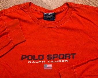Ralph Lauren Polo Sport Long Sleeve T-Shirt, Dark Orange, Vintage 90s, Spell Out Name & USA Flag, Rap Hip Hop Fashion Apparel
