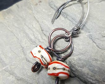 Sterling Silver, Copper and Glass Earrings - Romany