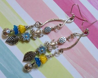 Blue, Yellow and Silver Nature Garden Earrings (3694)