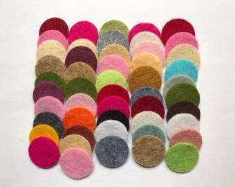Wool Felt Circles Die Cut 50 - .75 inch Random Colored 4108 - DIY Felt - Merino Felt - Arts and Crafts - Hair Clip Supply - Die Cut Felt