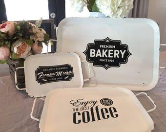 Farmhouse Vintage White Metal Tray with custom design