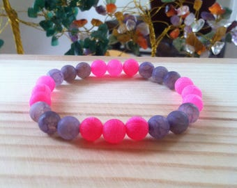 "Handmade Gemstone Frosted Agate Bead Bracelet, Hot Pink 8mm Agate Gemstone Bracelet, Agate Stretch Gemstone Jewelry, 7.25"" Beaded Bracelet"