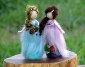 Needle felted Waldorf inspired Little standing fairies