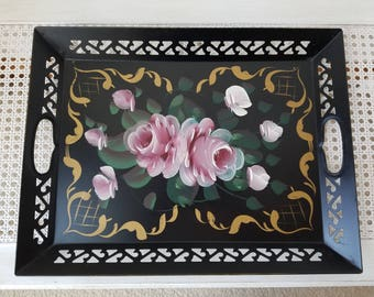 Vintage Metal Tray Handpainted Black Pink Roses Toleware 12 x 16 Reticulated Rectangle With Handles, Bohemian Cottage