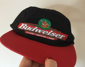 Vintage 1996 Official Budweiser Embroidered Logo SnapBack Dad Hat Made in the USA