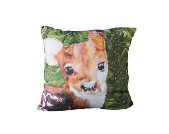 Green Woodland Fawn  | Cotton Pillow