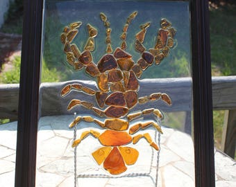 Sea Glass Lobster Mosaic Sun Catcher Amber Window Picture