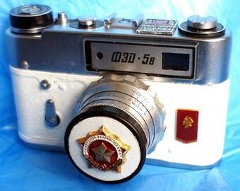 White Vintage Red Star USSR FED-5B camera Russian Leica -=LENIN=-
