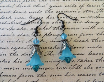 Blue Lucite Flowers And Crystals Drop Earrings