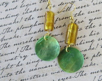 Green Mussel Shell And Gold Glass Beaded Earrings