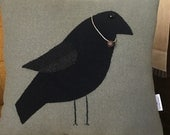 RESERVED FOR APRIL - Crow Pillow,Wool Applique Pillow, Primitive