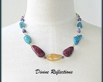 Multi Color Chunky Gemstone Necklace, Agate,Jasper Gemstone Necklace