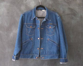 70s Wrangler Dark Denim Jean Jacket Western Wear Hippie Boho Bohemian USA Made Mens Size 42 M