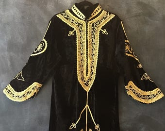 60s 70s Embroidered Black Velvet Kaftan Maxi Dress Moroccan Turkish Indian Boho Hippies Laides Size S M L