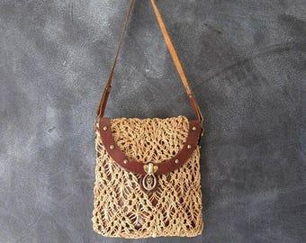 20% Off Sale 60s John Romain Straw Macrame Leather Wine Leather Shoulder Handbag Boho Hippie