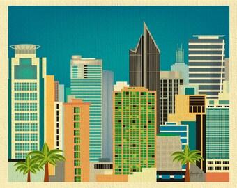 SALE Manila Philippines Art Print, Manila Skyline, Philippines Travel Poster, Manila Horizontal print, Makati Art - style E11-O-MAN