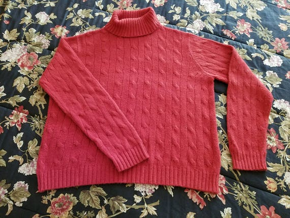 Turtleneck Cable Knit Pullover Sweater by Evan Picone - Red - Size L - Excellent Condition - 1990s