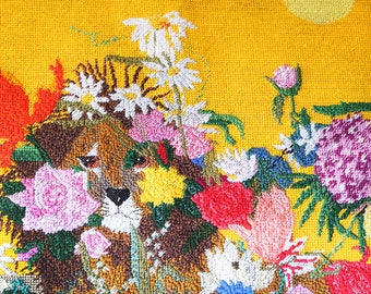 Vintage Needlepoint Tapestry Lion with Flowers