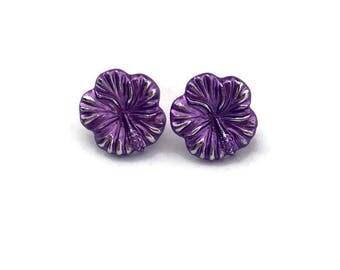 Purple Hibiscus Earrings - Hawaiian Flower earrings - Tropical Rockabilly, Retro, Tiki, Pinup - Nickel Free - Large 20mm