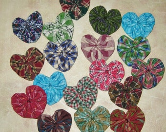 Fabric YoYo Hearts, Homespun Fabrics, 18 Multi Color, Appliques, Embellishments