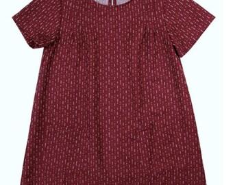 Burgundy A-Line Shift Dress with Patch Pockets
