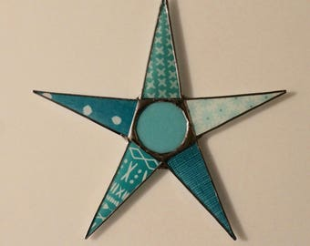 Tiffany times Five- lacquered fabric under glass with art glass cabochon center 10 inch glass star- aqua, teal, turquoise