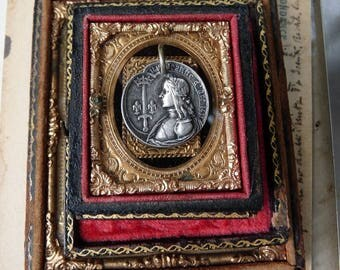 Antique French Jeanne d'Arc Medal, A Talisman for the Fierce Visionary, by RusticGypsyCreations