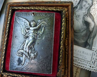 SALE:  Rare 1900's Antique French Angel Exposition Plaque, offered by RusticGypsyCreations