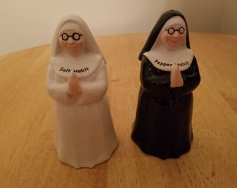 Vintage Pair of Nuns Salt and Pepper Shakers