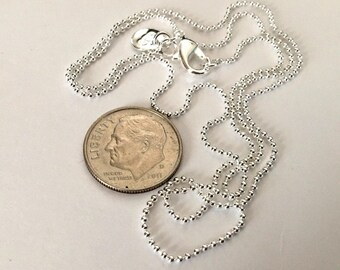 6  Silver Plated 20 inch 1 MM Ball Chains      Fast shipping