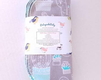Cotton flannel baby wipes or wash cloths with desert succulents, double layer, set of 6, plants, nature, cactus