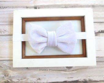 White Baby Headband, Baby Head Band, Baby Hair Bow, Infant Headband, Toddler Headband, Girl Headband, Baby headband bow, velvet bow