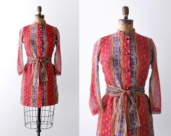 60's boho mini dress. red. 1960 paisley print dress. colorful. striped. High collar.