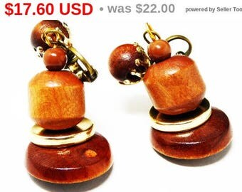 Wooden Dangling Bell Earrings - Clip on Earrings - Wood Grain Beads - Goldtone - Vintage 1940's  Earrings