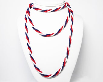 "Red White & Blue Twisted Bead Rope Necklace - Long 53"" Rope Length  - Patriotic Jewelry, 4th of July Veterans Day Election Flag Memorial Day"