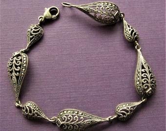 Vintage Sterling Silver Marcasite Bracelet Jewelry