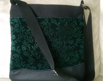 Tote: Black Velvet and Green and Black Leather