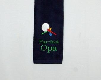 Opa Golf Towel, Custom Personalized With Name, Golfing Buddy Gift, Pap, Bomma, Bonpa, Savta, Saba, No Shipping Fee, Ships TODAY, AGFT 1066
