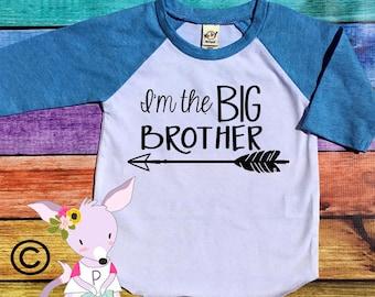 Big Brother Arrow Shirt Raglan I'm Going to be a Big Brother Baby Toddler Big Brother Shirt Big Bro Shirt Im the Big Brother Hipster