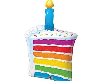 "Birthday Party Decorations - Birthday Cake Foil Balloon - 42"" Birthday Balloon - Birthday Cake Decorations - Rainbow Balloon"