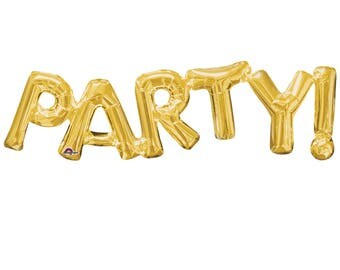 """Gold Party Letters Balloon - Air Fill Gold Foil Balloon - 33"""" Party Balloon - Princess Party Balloon -  Party Decorations - Gold  Balloon"""