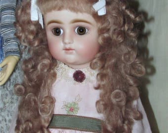 Mohair doll wig size 8 ash blond tails wig for antique or reproduction doll
