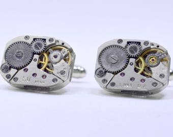 Stunning set of Rectangular watch movement cufflinks ideal gift for the birthday of a steampunk lover 84