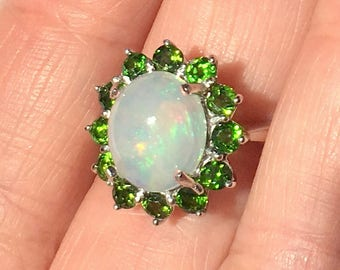 Size 7 3/4, Welo Opal, Green Diopside Halo, Sterling Silver Ring, Ethiopian Opal Ring, Lavender ,Blue, Peach, Yellow, Green