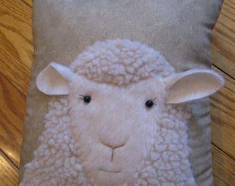 "Sweet faced woolly sheep pillow.....""Looking at Ewe"""