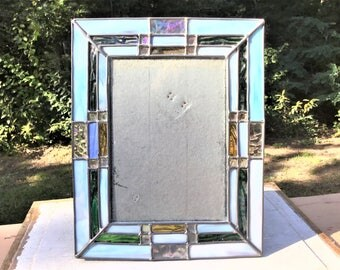 Vintage Stained Glass Picture Frame