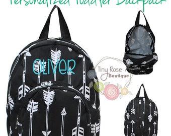 Toddler Backpack - Black Arrow Booksack - Personalized School Bag, Book Bag, Mini Backpack