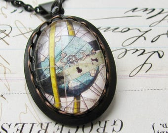 Armillary Sphere Map, ancient astronomy, celestial map necklace made with Fallen Angel Brass, handmade glass cabochon, navigation, journey