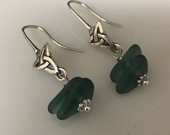 Earrings Celtic Sterling silver and Sea Glass