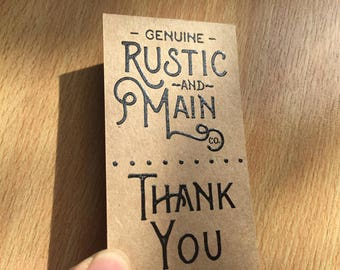 200 Business Cards or tags - 13 PT brown kraft paper with embossing - environmentally friendly - full color custom printed